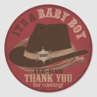 Cowboy Hat and Rope Western Baby Shower Classic Round Sticker