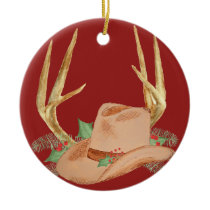 Cowboy Hat & Antlers Christmas Ornament