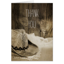 Cowboy Hat Barn Wood Country Bridesmaid Thank You Card