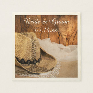 Cowboy Hat Barn Wood Country Wedding Paper Napkins
