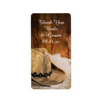 Cowboy Hat Barn Wood Country Wedding Thank You Label