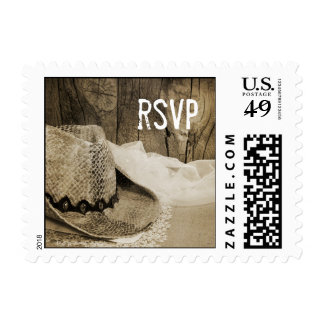 Cowboy Hat Barn Wood Wedding RSVP Postage Stamp