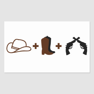 Cowboy hat, boots and revolvers rectangle stickers