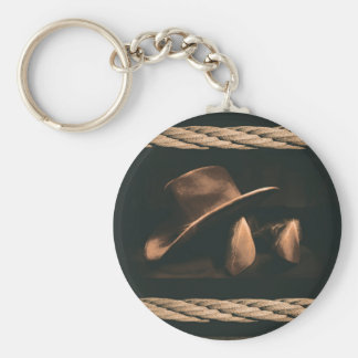 Cowboy hat, boots and rope western style masculine basic round button keychain