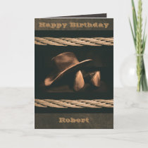 Cowboy hat, boots and rope western style masculine card