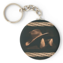 Cowboy hat, boots and rope western style masculine keychain