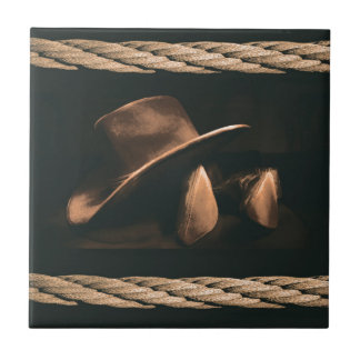 Cowboy hat, boots and rope western style masculine tile