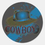 Cowboy Hat brown Blue Round Stickers