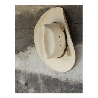 Cowboy hat hanging on wall of log cabin postcard