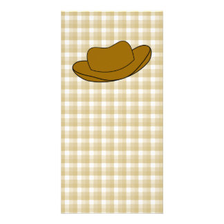 Cowboy Hat illustration. Brown. Personalized Photo Card
