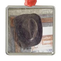 Cowboy Hat in Watercolor Metal Ornament
