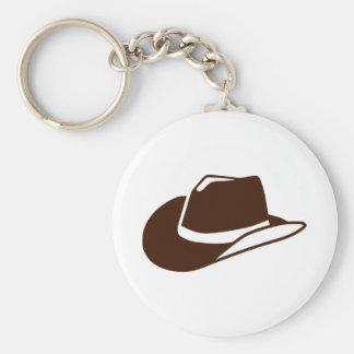 Cowboy hat basic round button keychain