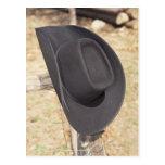 Cowboy hat on fence postcard