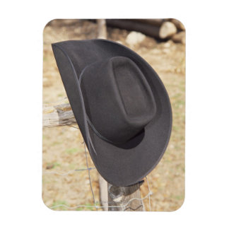 Cowboy hat on fence rectangular magnets