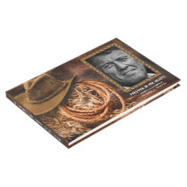 Cowboy Hat Photo Funeral Memorial Guest Book