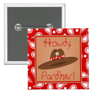 Cowboy Hat Red Bandanna Birthday Party Favor Pinback Button