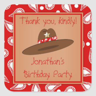 Cowboy Hat Red Bandanna Birthday Party Stickers