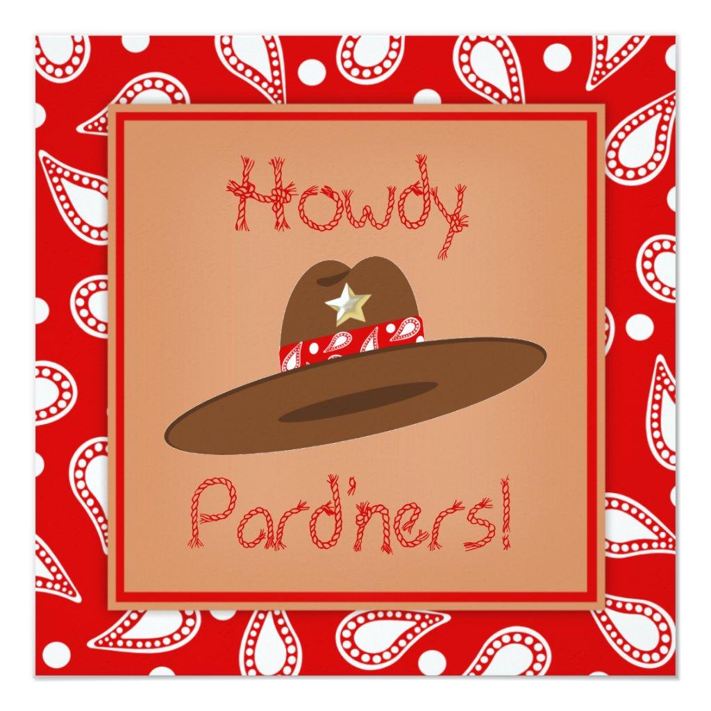 Cowboy Hat Red Paisley Bandanna Birthday Party