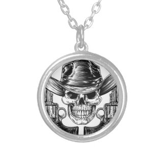 Cowboy Hat Skull and Pistols Silver Plated Necklace