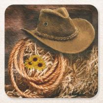 Cowboy Hat Square Paper Coaster