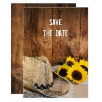 Cowboy Hat Sunflowers Barn Wedding Save the Date Invitation