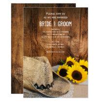 Cowboy Hat, Sunflowers Barn Wood Country Wedding Card