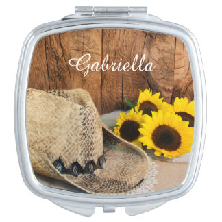 Cowboy Hat, Sunflowers, Barn Wood Country Wedding Compact Mirror