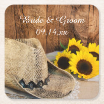 Cowboy Hat, Sunflowers, Barn Wood Country Wedding Square Paper Coaster