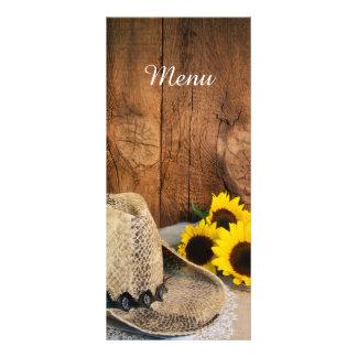 Cowboy Hat Sunflowers Barn Wood Wedding Menu