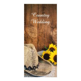 Cowboy Hat Sunflowers Barn Wood Wedding Program