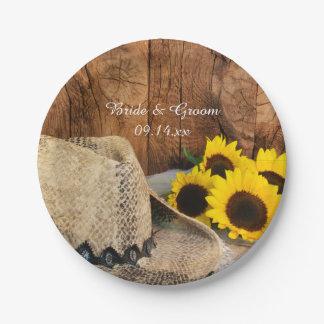Cowboy Hat, Sunflowers, Barn Wood Western Wedding Paper Plate