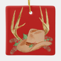 Cowboy Hat with Antlers Christmas Ornament