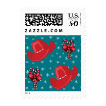 Cowboy Hats and Candy Canes With Snowflakes Postage
