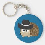 Cowboy Hedgehog Basic Round Button Keychain