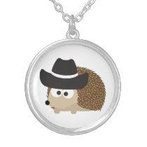 Cowboy Hedgehog Silver Plated Necklace