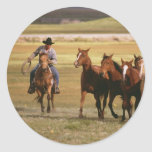 Cowboy Herding at the Ranch Classic Round Sticker