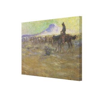 Cowboy Herding Cattle on the Range by Lon Megargee Canvas Print