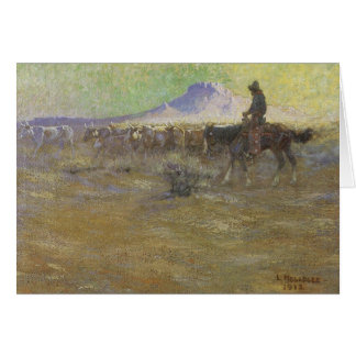 Cowboy Herding Cattle on the Range by Lon Megargee Card