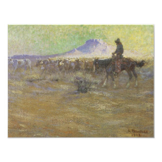Cowboy Herding Cattle on the Range by Lon Megargee 4.25x5.5 Paper Invitation Card