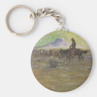 Cowboy Herding Cattle on the Range by Lon Megargee Keychains