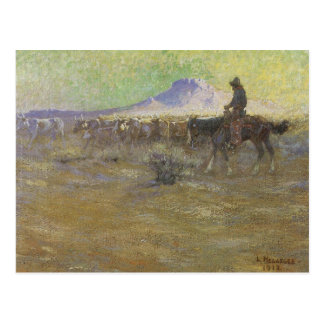 Cowboy Herding Cattle on the Range by Lon Megargee Postcard