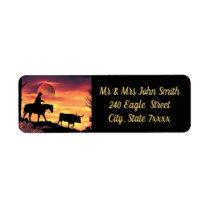 Cowboy Herding Longhorn Steer Label