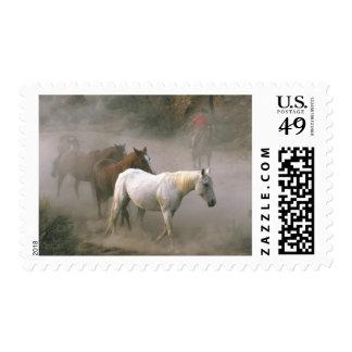Cowboy Herding Postage Stamp