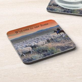 Cowboy Herding Sheep Hard Plastic Coasters