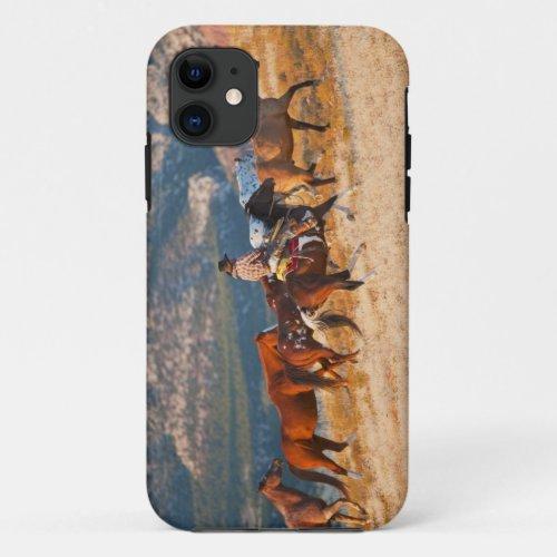 Cowboy herding wild horses 2 Phone Case