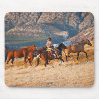 Cowboy herding wild horses 2 mousepads