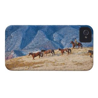 Cowboy herding wild horses iPhone 4 case