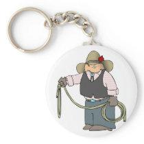 Cowboy Holding A Lasso Keychain
