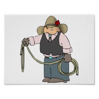 Cowboy Holding A Lasso Poster