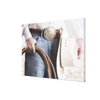 Cowboy holding a rope 2 canvas print
